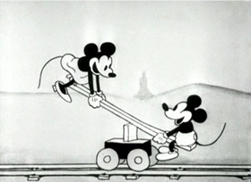 Screenshots from the 1929 Disney cartoon Mickey