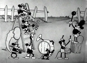 Screenshots from the 1929 Disney cartoon The Barnyard Battle