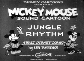 Screenshots from the 1929 Disney cartoon Jungle Rhythm