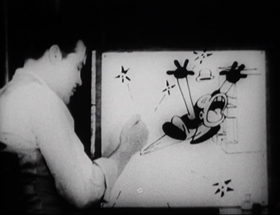 Screenshots from the 1929 Warner Brothers cartoon Bosko, the Talk Ink Kid