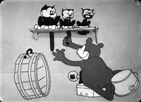 Screenshots from the 1929 Disney cartoon The Opry House