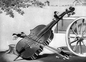 Screenshots from the 1930 Disney cartoon The Barnyard Concert