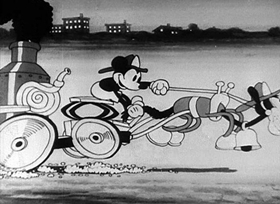 Screenshots from the 1930 Disney cartoon The Fire Fighters