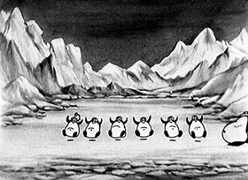 Screenshots from the 1930 Disney cartoon Arctic Antics