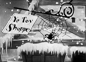 Screenshots from the 1930 Disney cartoon Midnight in a Toyshop