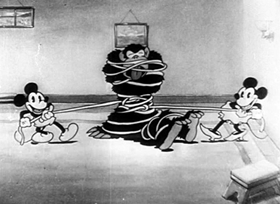 Screenshots from the 1930 Disney cartoon The Gorilla Mystery