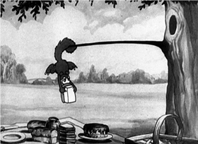Screenshots from the 1930 Disney cartoon The Picnic