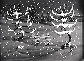 Screenshots from the 1930 Disney cartoon Winter