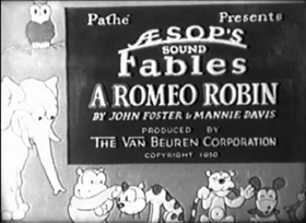 Screenshots from the 1930 Van Beuren cartoon A Romeo Robin