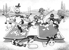 Screenshots from the 1931 Disney cartoon Mother Goose Melodies