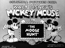 Screenshots from the 1931 Disney cartoon The Moose Hunt