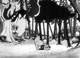 Screenshots from the 1931 Disney cartoon The Moose Hunt