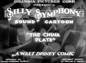 Screenshots from the 1931 Disney cartoon The China Plate
