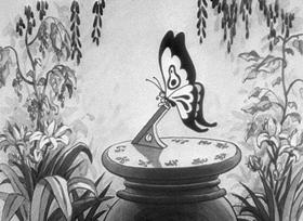 Screenshots from the 1931 Disney cartoon The China Plate