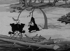 Screenshots from the 1931 Disney cartoon The Busy Beavers