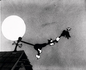 Screenshots from the 1931 Disney cartoon The Cat