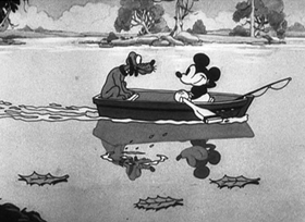 Screenshots from the 1931 Disney cartoon Fishin