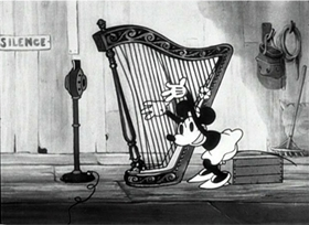 Screenshots from the 1931 Disney cartoon The Barnyard Broadcast