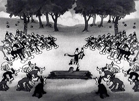 Screenshots from the 1931 Disney cartoon The Fox Hunt