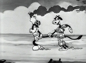 Screenshots from the 1931 Disney cartoon The Beach Party