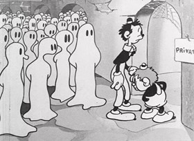 Screenshots from the 1931 Van Beuren cartoon Wot a Night