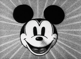 Screenshots from the 1931 Disney cartoon Mickey Cuts Up