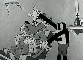 Screenshots from the 1931 Ub Iwerks cartoon The Village Barber