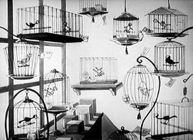 Screenshots from the 1932 Disney cartoon The Bird Store
