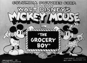 Screenshots from the 1932 Disney cartoon The Grocery Boy