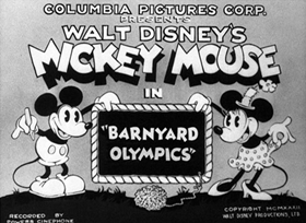 Screenshots from the 1932 Disney cartoon Barnyard Olympics
