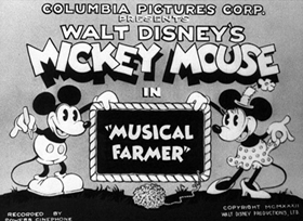 Screenshots from the 1932 Disney cartoon Musical Farmer