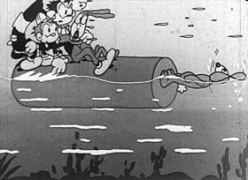 Screenshots from the 1932 Van Beuren cartoon Rabid Hunters
