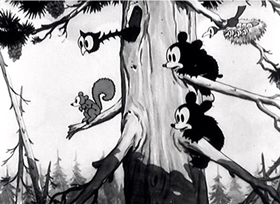 Screenshots from the 1932 Disney cartoon The Bears and Bees