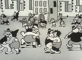 Screenshots from the 1932 Van Beuren cartoon The Tuba Tooter