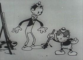 Screenshots from the 1932 Van Beuren cartoon Pencil Mania