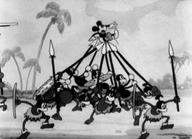 Screenshots from the 1932 Disney cartoon Trader Mickey