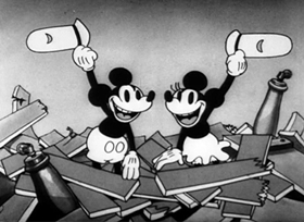 Screenshots from the 1932 Disney cartoon The Whoopee Party