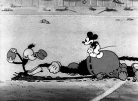 Screenshots from the 1932 Disney cartoon Touchdown Mickey