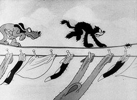 Screenshots from the 1932 Disney cartoon The Wayward Canary