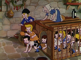 Screenshots from the 1932 Disney cartoon Babes in the Woods