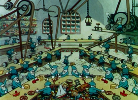 Screenshots from the 1932 Disney cartoon Santa