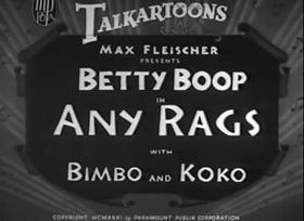 Screenshots from the 1932 Fleischer Studio cartoon Any Rags
