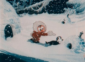 Screenshots from the 1933 Ted Eshbaugh cartoon The Snowman