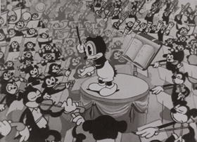 Screenshots from the 1933 Van Beuren cartoon Opening Night