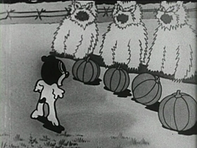 Screenshots from the 1933 Van Beuren cartoon Panicky Pup
