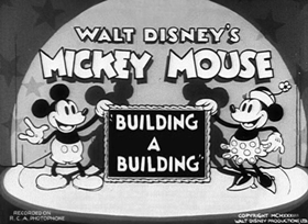 Screenshots from the 1933 Disney cartoon Building a Building