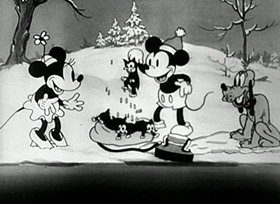 Screenshots from the 1933 Disney cartoon Mickey