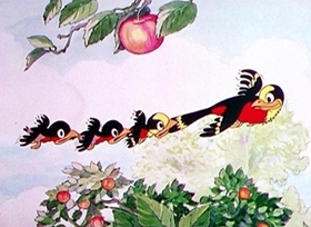 Screenshots from the 1933 Disney cartoon Birds in the Spring