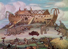 Screenshots from the 1933 Disney cartoon Father Noah