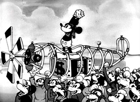 Screenshots from the 1933 Disney cartoon The Mail Pilot
